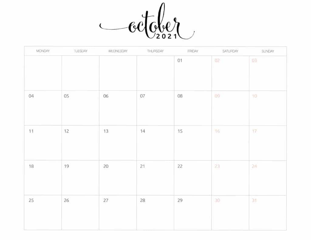 October 2021 Monthly Calendar Monday Start