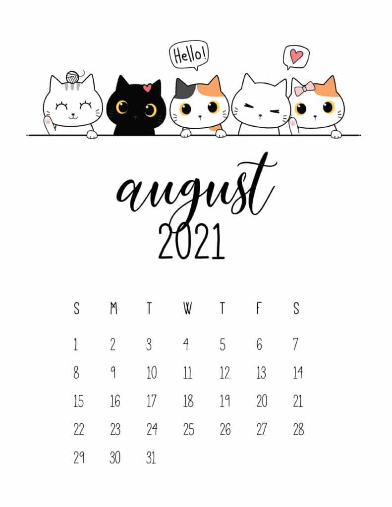 Peeking Cats August 2021 Calendar