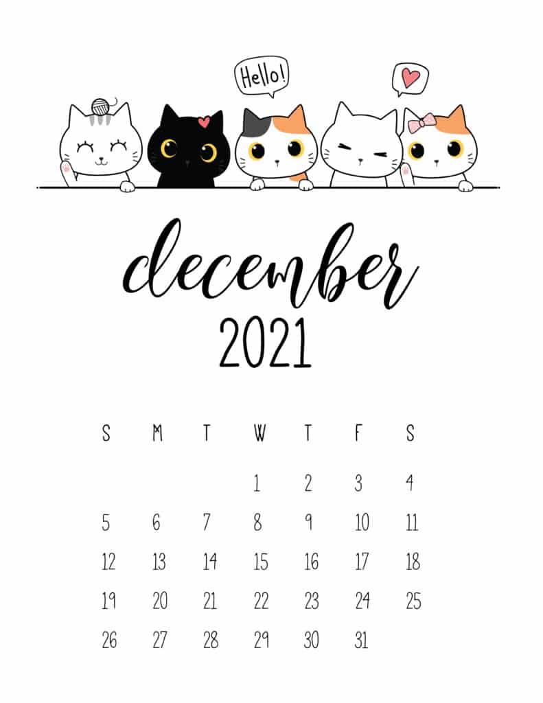 Peeking Cats December 2021 Calendar
