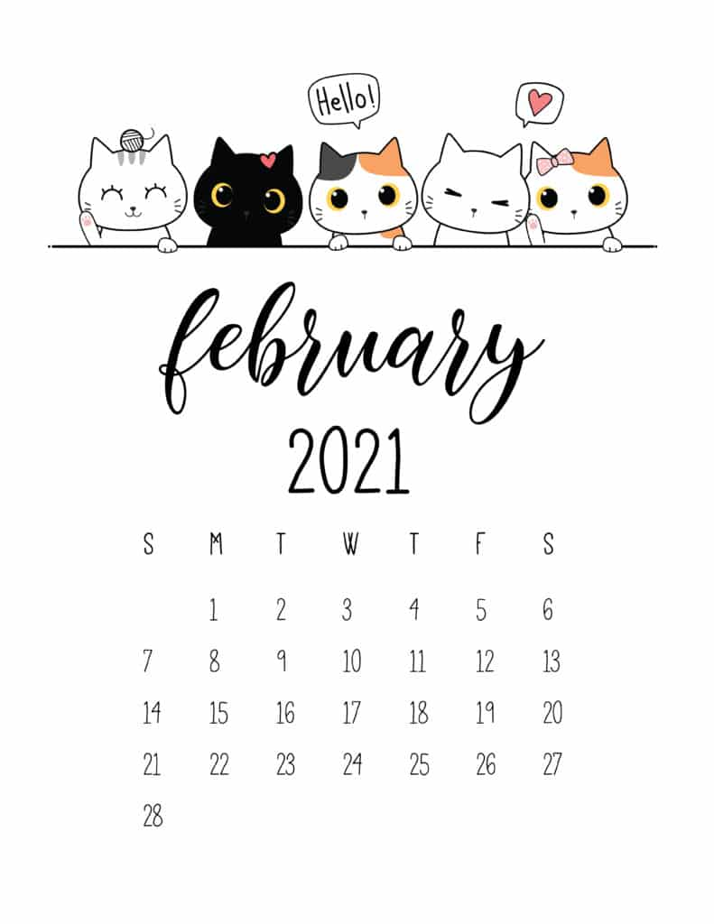 Peeking Cats February 2021 Calendar