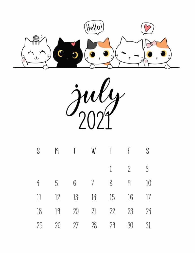 Peeking Cats July 2021 Calendar