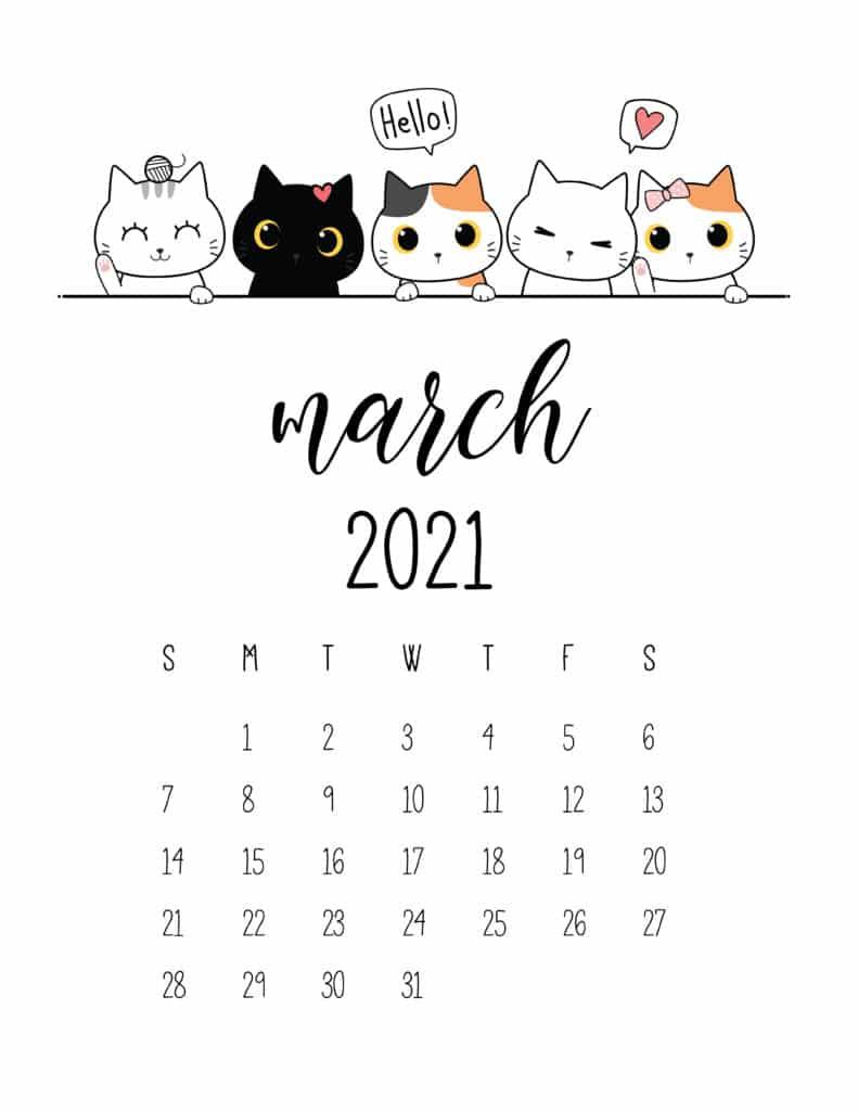 Peeking Cats March 2021 Calendar