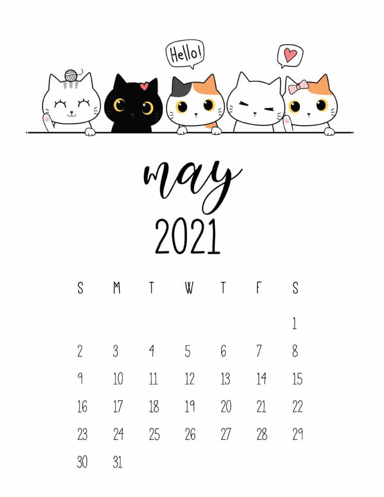 Peeking Cats May 2021 Calendar