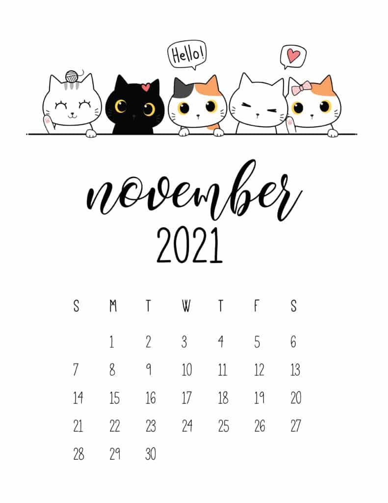 Peeking Cats November 2021 Calendar