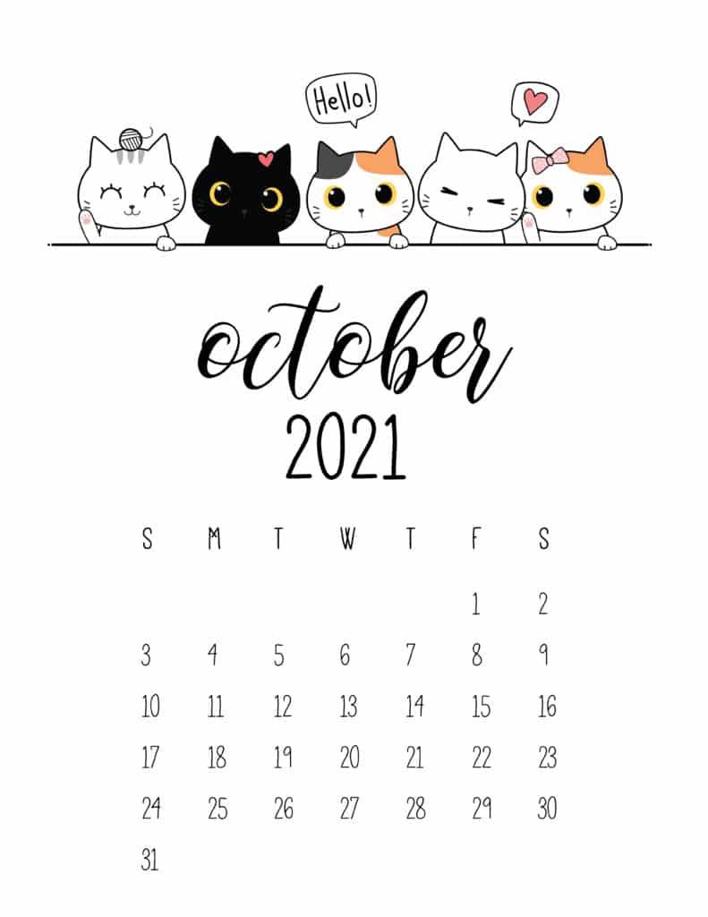 Peeking Cats October 2021 Calendar