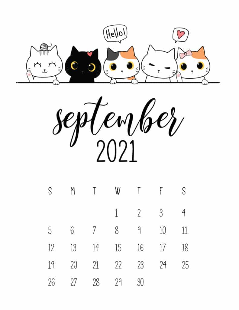 Peeking Cats September 2021 Calendar