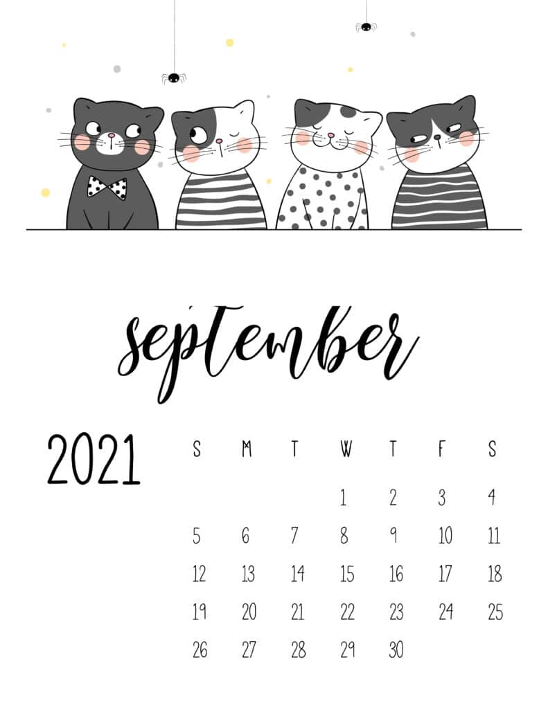 September 2021 Calendar Cute Cats
