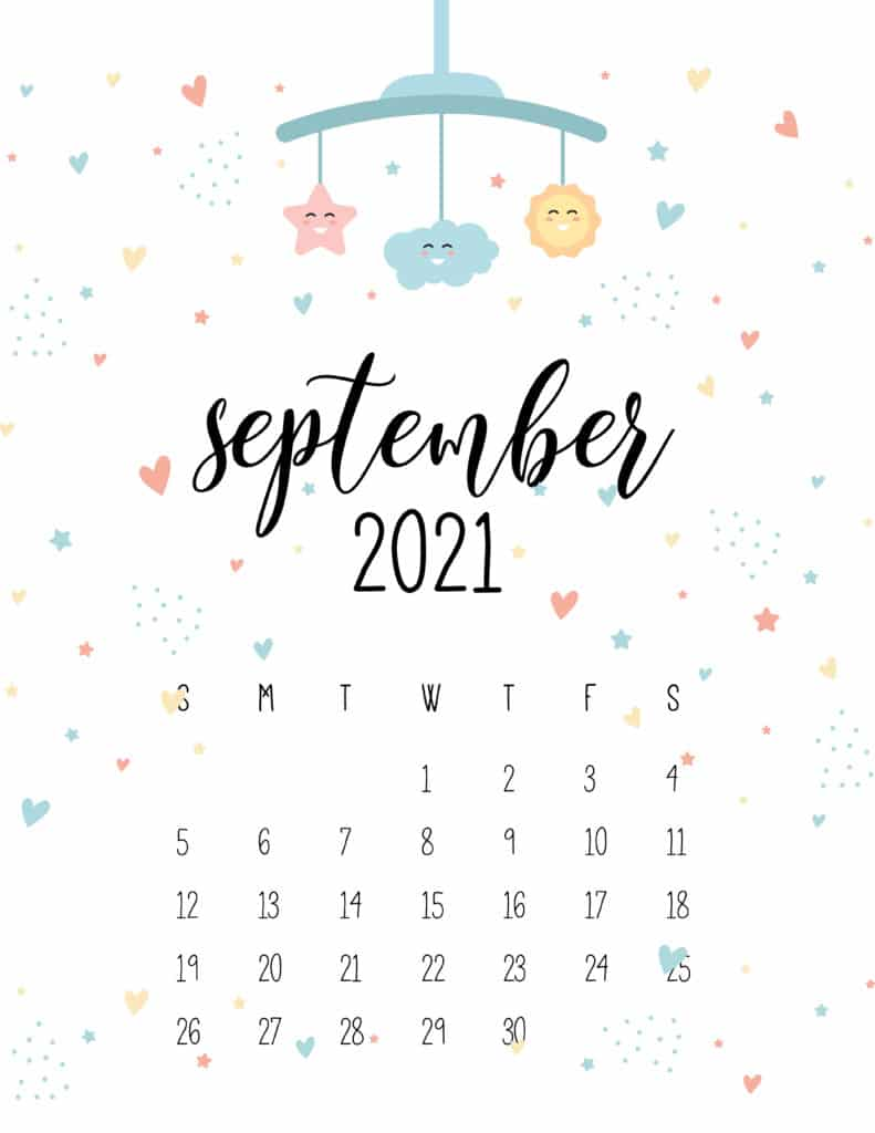 September 2021 Calendar Cute Nursery Mobile