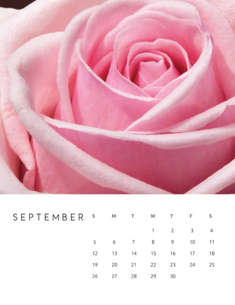 September 2021 Calendar Floral Photography