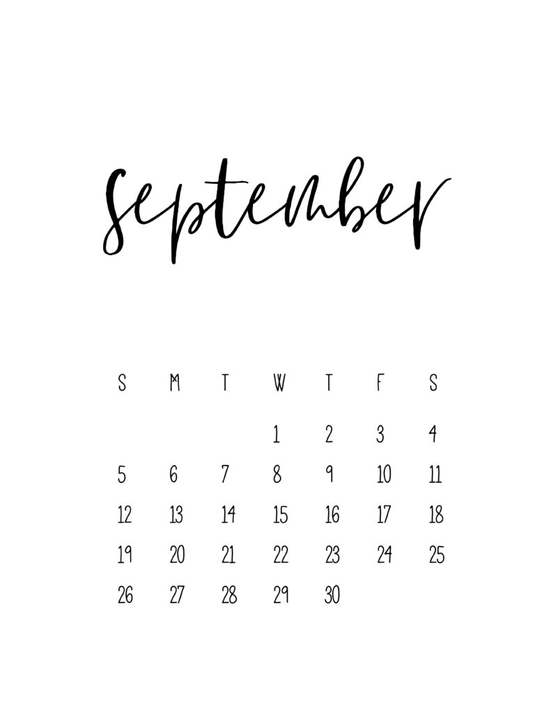 September 2021 Calendar Free Printable Template