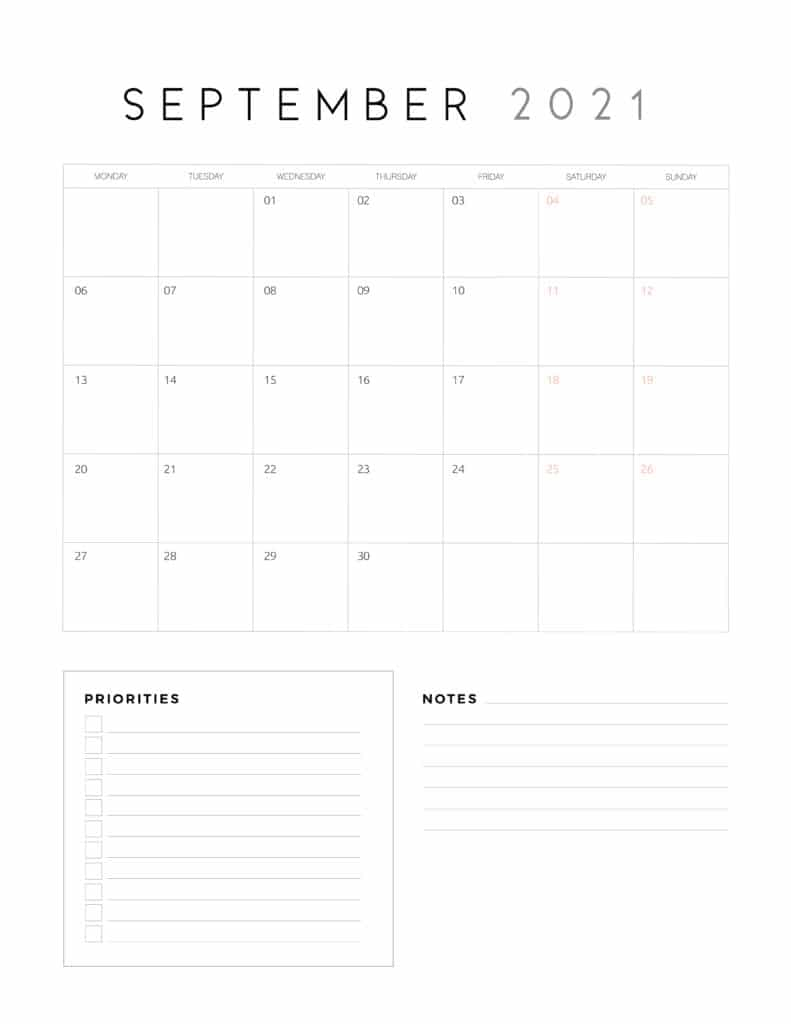 September 2021 Calendar With Priorities And Notes