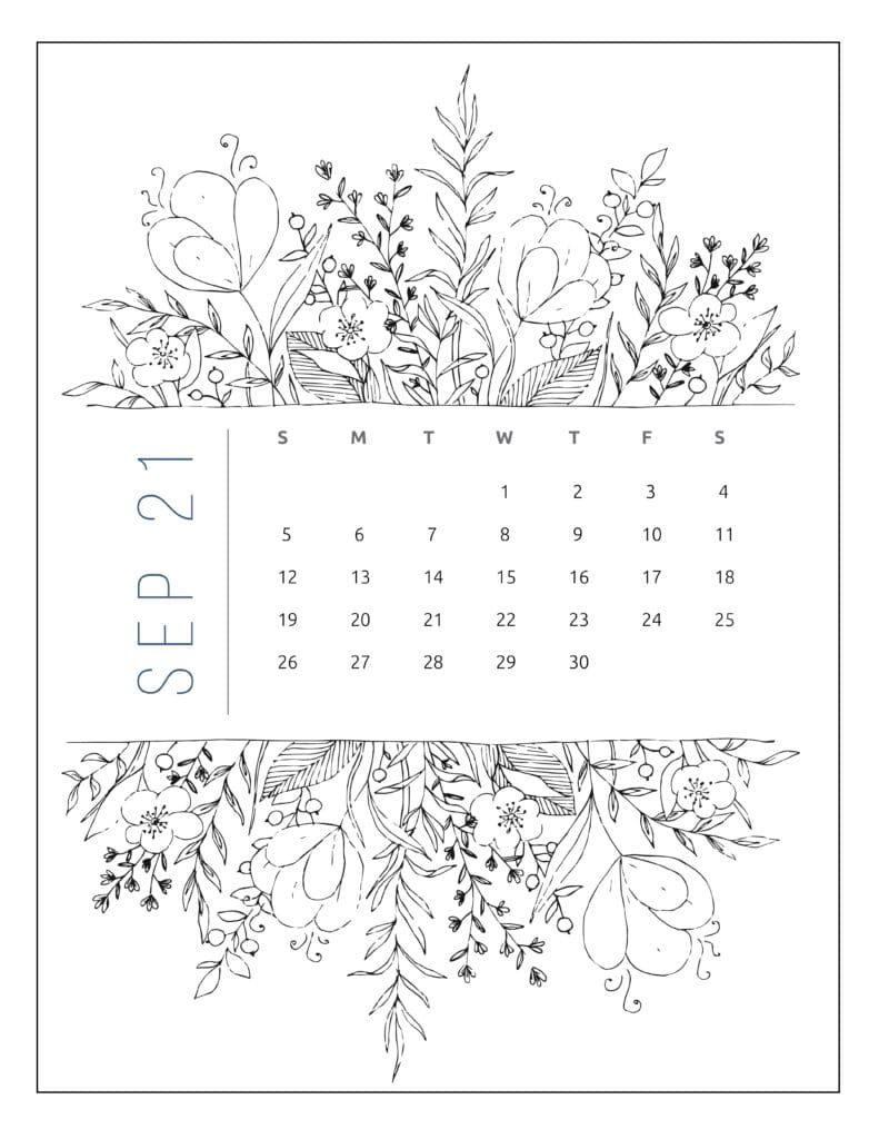 September 2021 Free Printable Calendar Floral Style