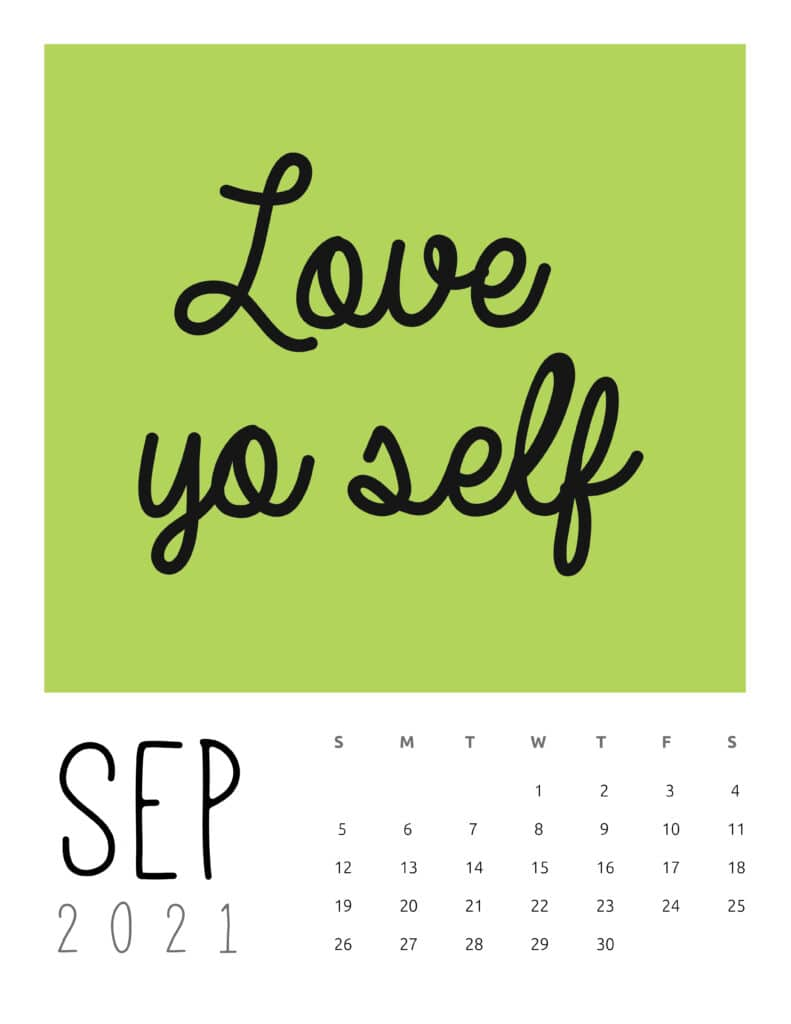September 2021 Inspirational Quotes Calendar
