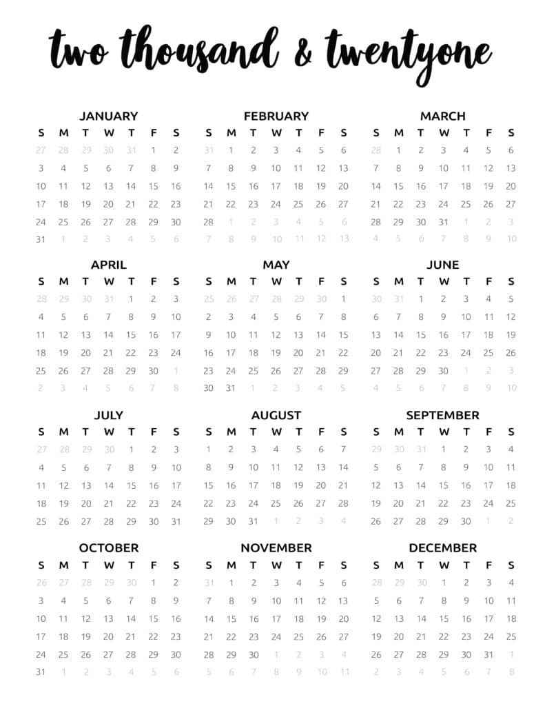 Typographic One Page 2021 Calendar