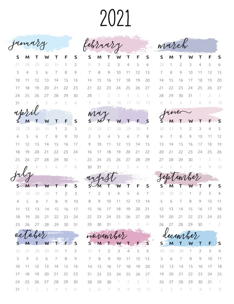 Watercolor One Page 2021 Calendar