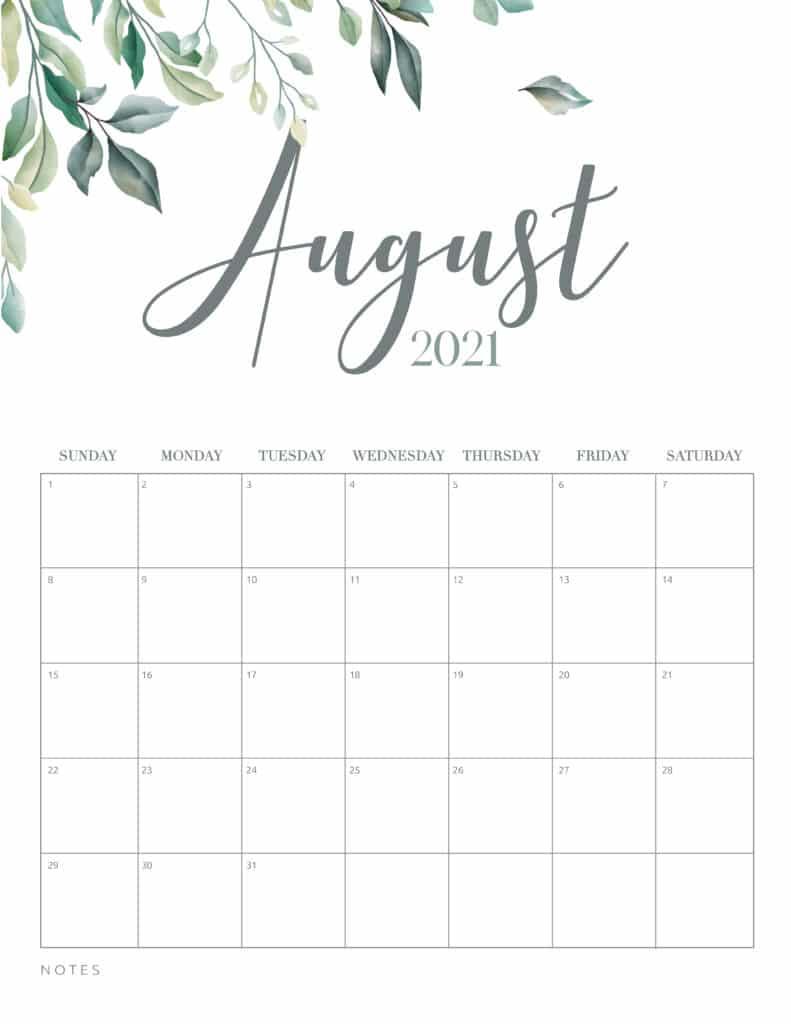 Minimal Botanical August 2021 Free Printable Calendar