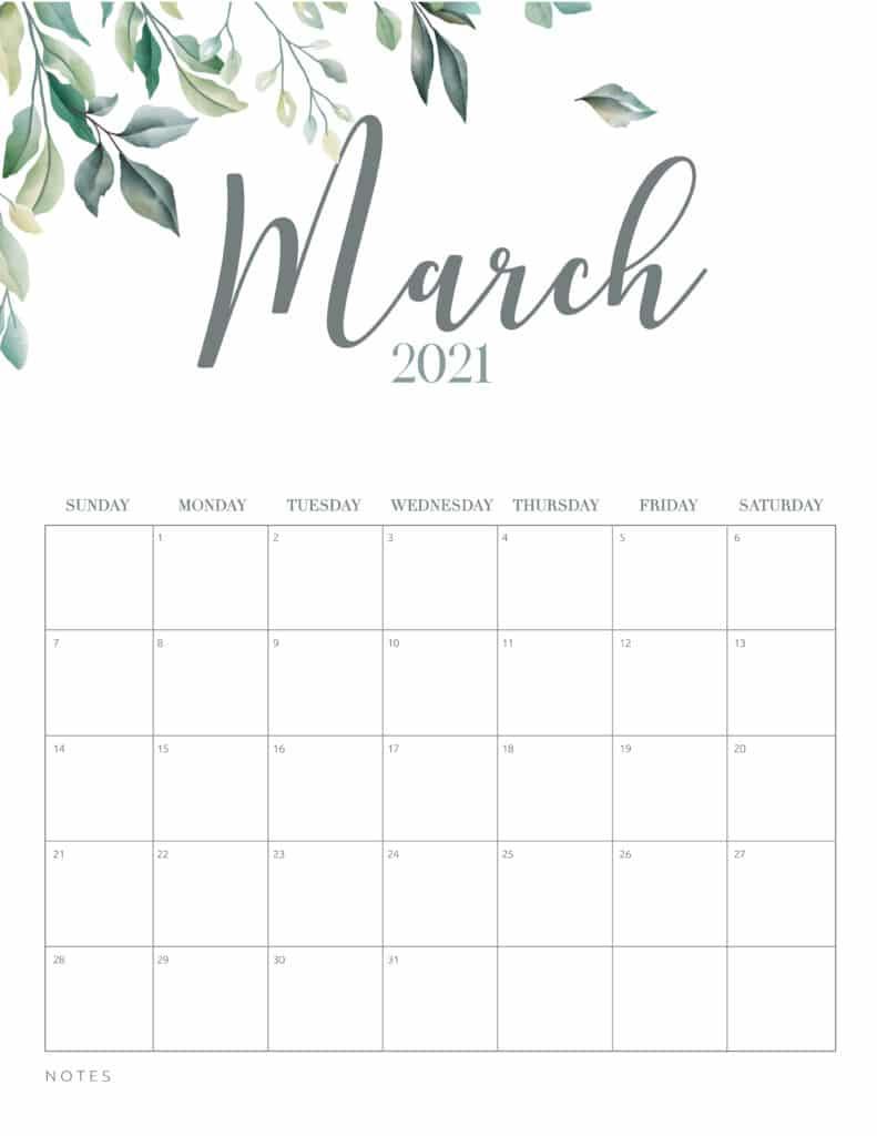 Botanical Floral March 2021 Calendar