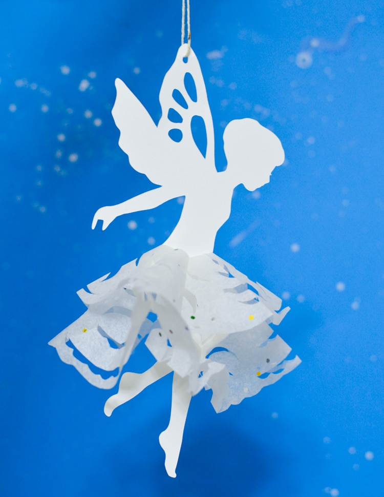 snowflake fairy made from tissue paper