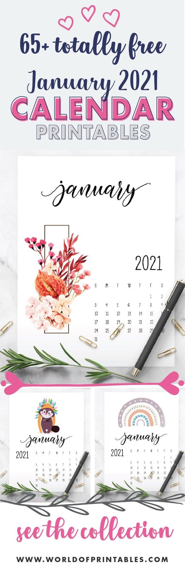 65 free January 2021 Calendar Printables
