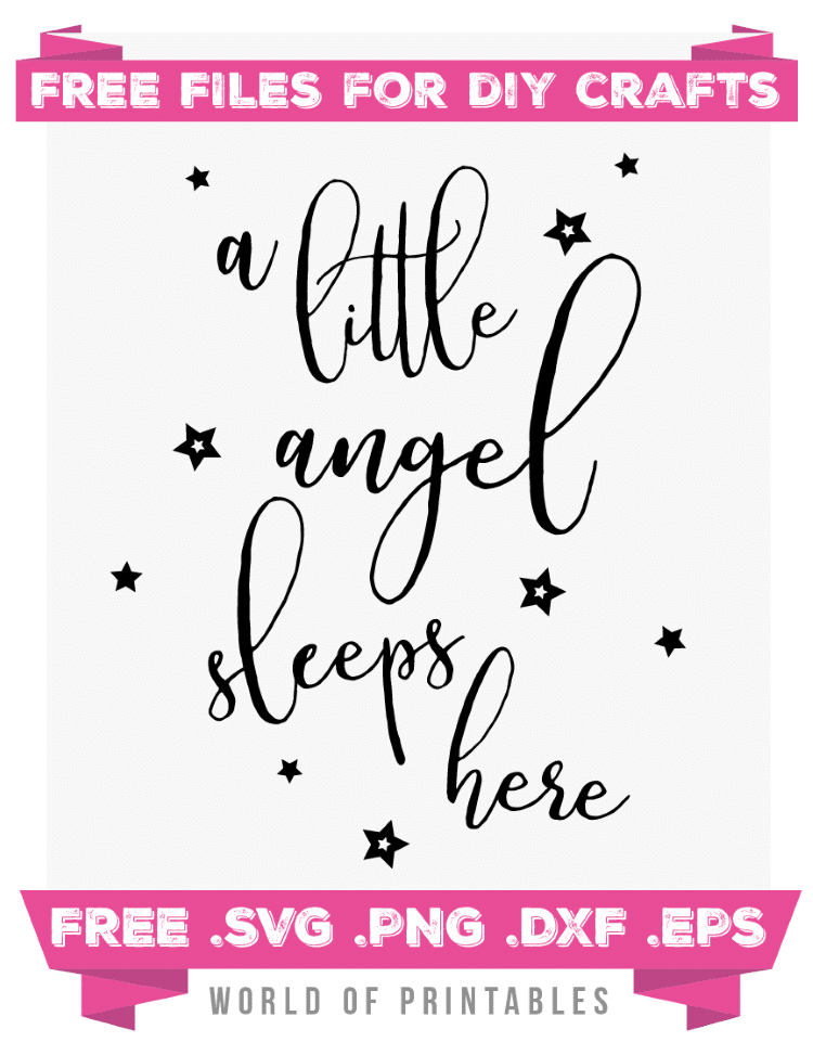 A little angel sleeps here Free SVG Files PNG DXF EPS