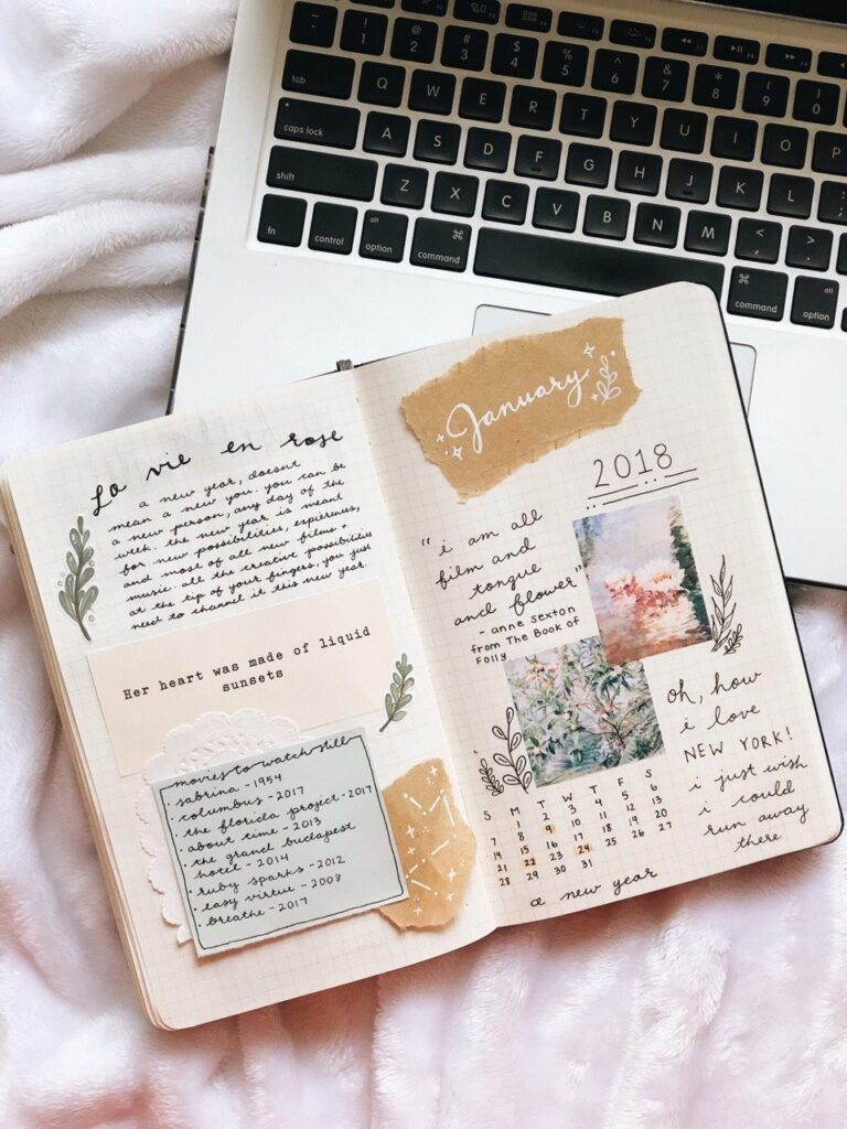 Botanical Scrapbook Bullet Journal Inspiration