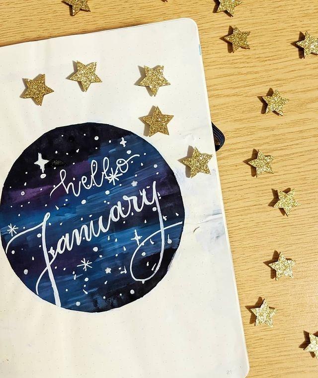 Celestial January Bullet Journal Inspiration