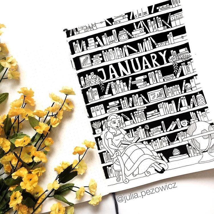 Disney Belle January Bullet Journal Inspiration