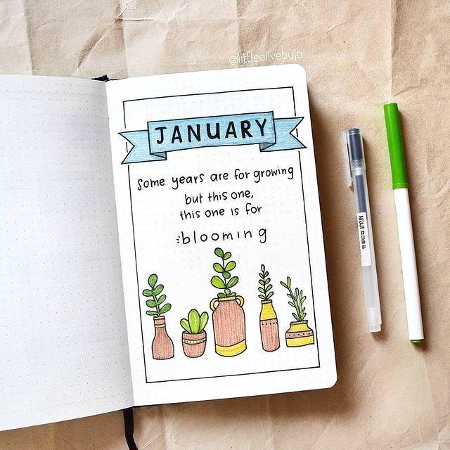 Flowers Blooming January Bullet Journal Ideas