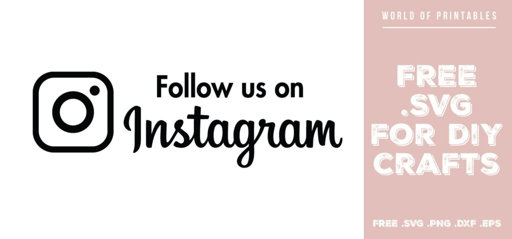 Follow us on instagram sign - Free SVG file for DIY crafts and Cricut