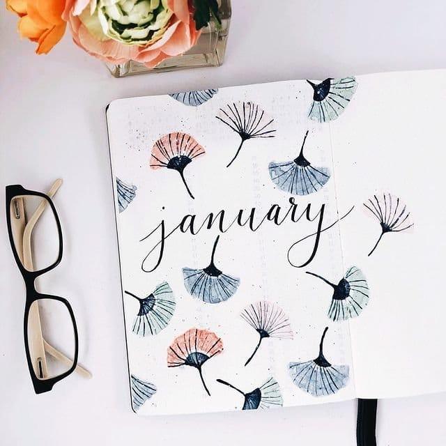 Ginkgo Leaves January Bullet Journal Inspiration
