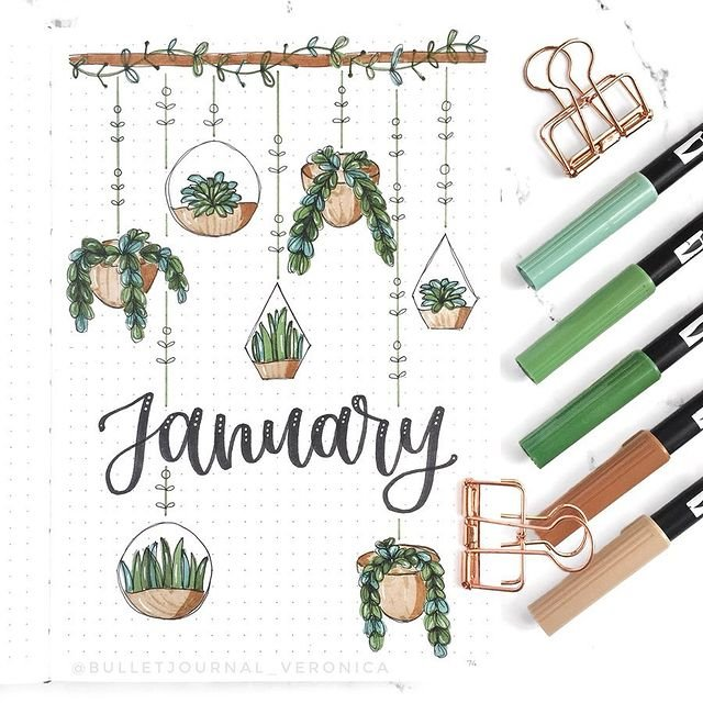 Hanging Plants January Bullet Journal Ideas