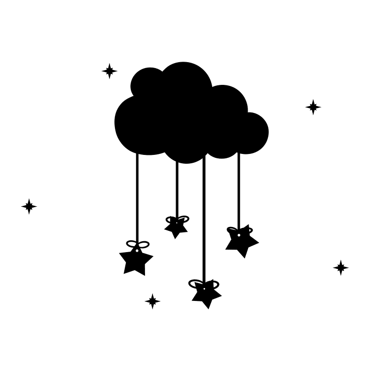 Hanging Stars from Clouds - Free SVG