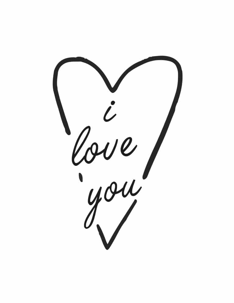 I Love You Art Print - Romantic Free Printable Wall Art