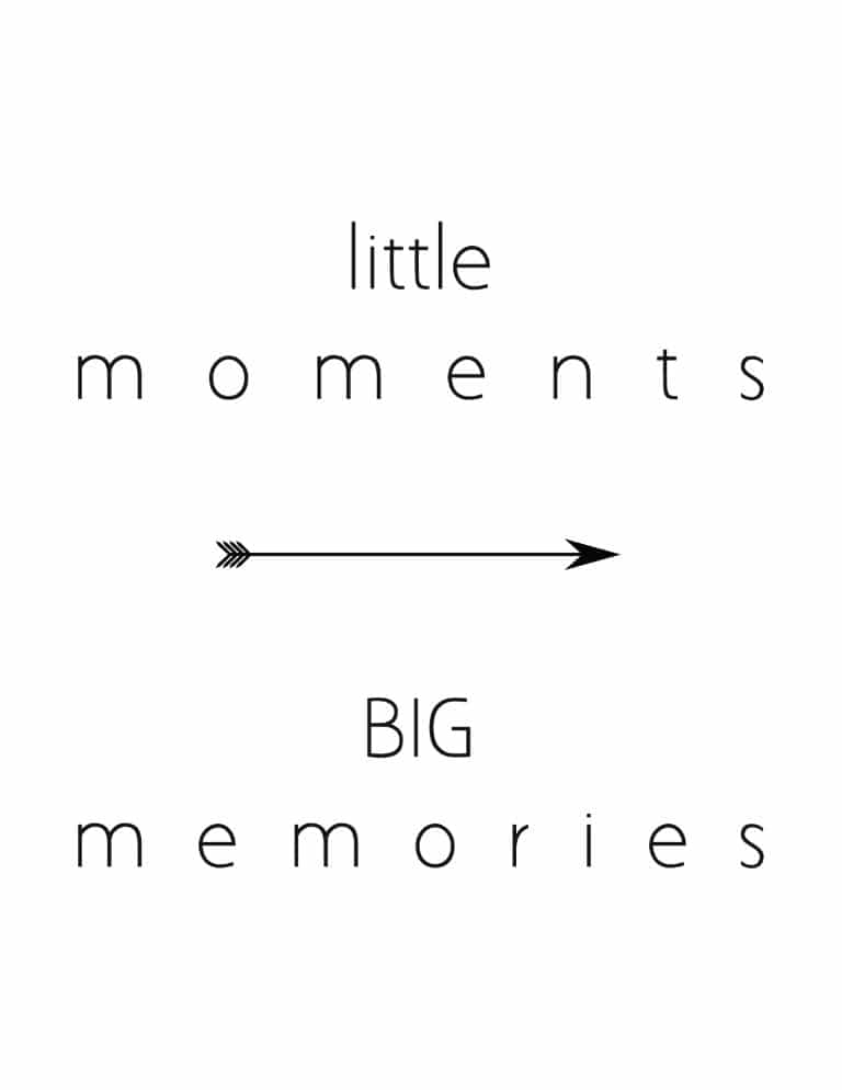 Little Moments Big Memories Art Print - Free Printable Wall Art for Kids rooms and nursery decor.