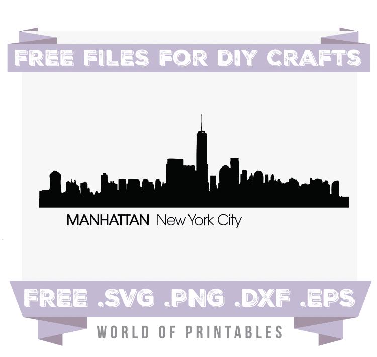 Manhattan New York City Skyline Free SVG Files PNG DXF EPS