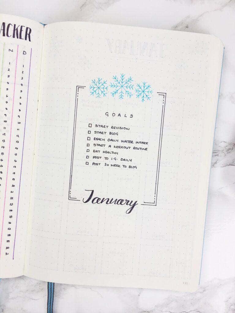 Minimalist Goals January Bullet Journal Idea