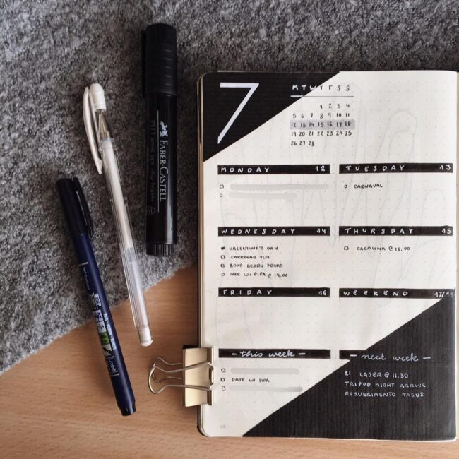Minimalist Weekly Bullet Journal Planning Page