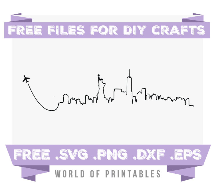 New York Skyline Fly Away Free SVG Files PNG DXF EPS