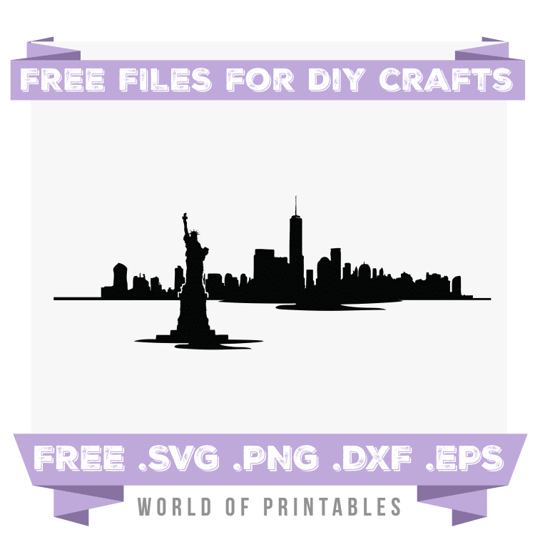 New York Skyline Waterfront Free SVG Files PNG DXF EPS