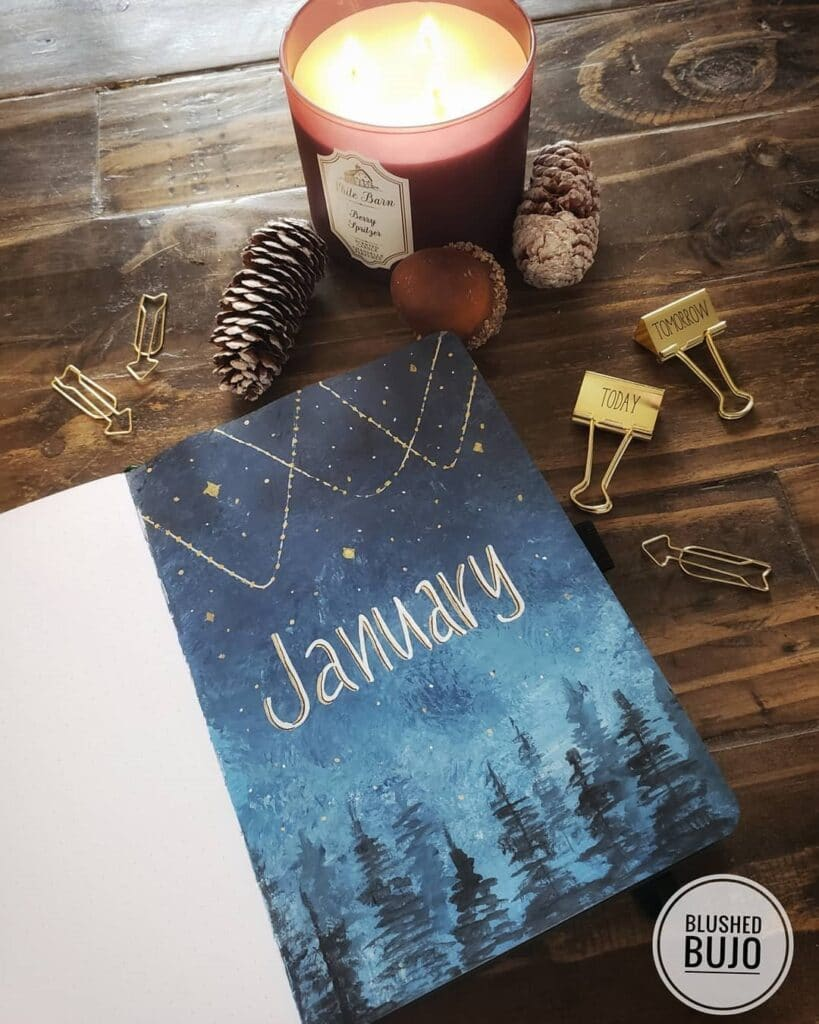 Night time Forest January Bullet Journal Inspiration