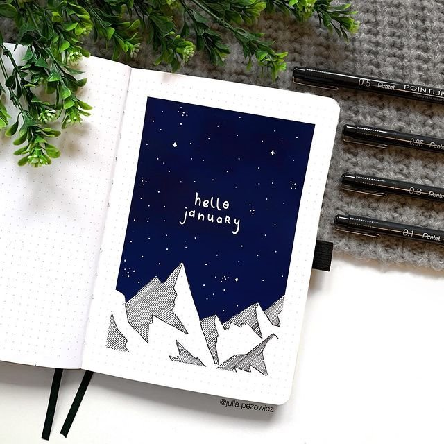 Night time Mountains January Bullet Journal Inspiration