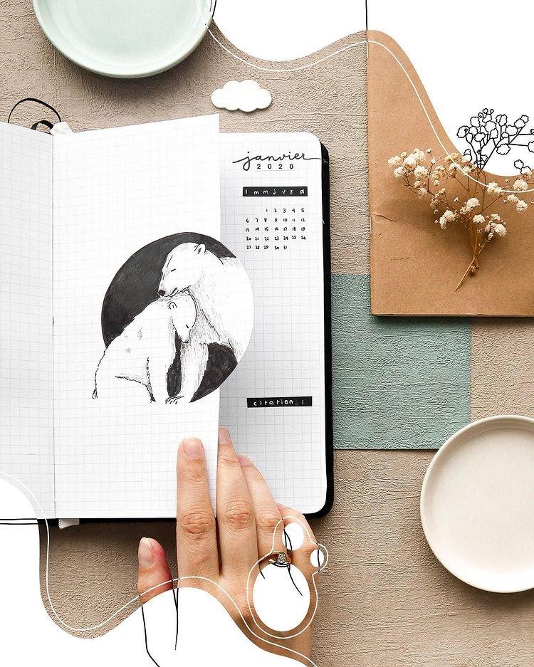 Polar Bear Cut Out January Bullet Journal Inspiration