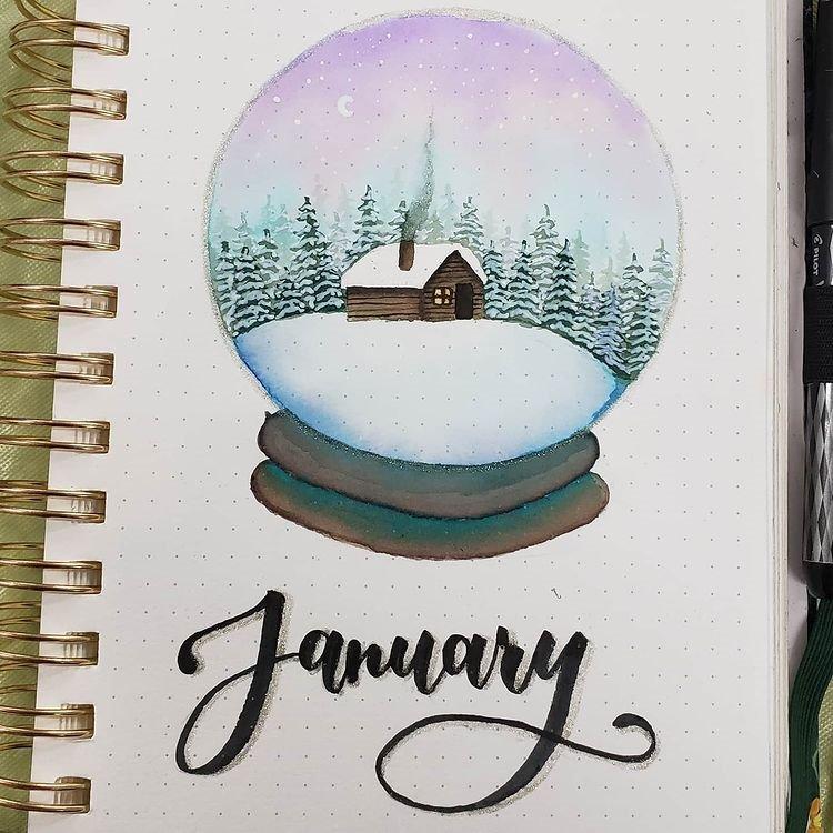 Snow Globe January Bullet Journal Inspiration