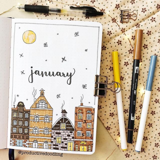 Snowy City January Bullet Journal Inspiration