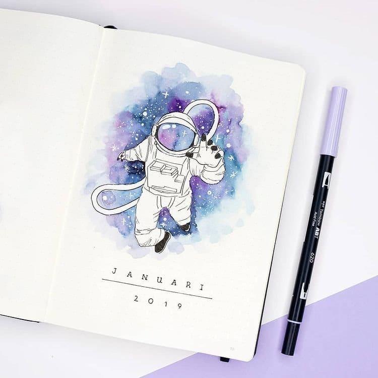 Space Astronaut January Bullet Journal Inspiration