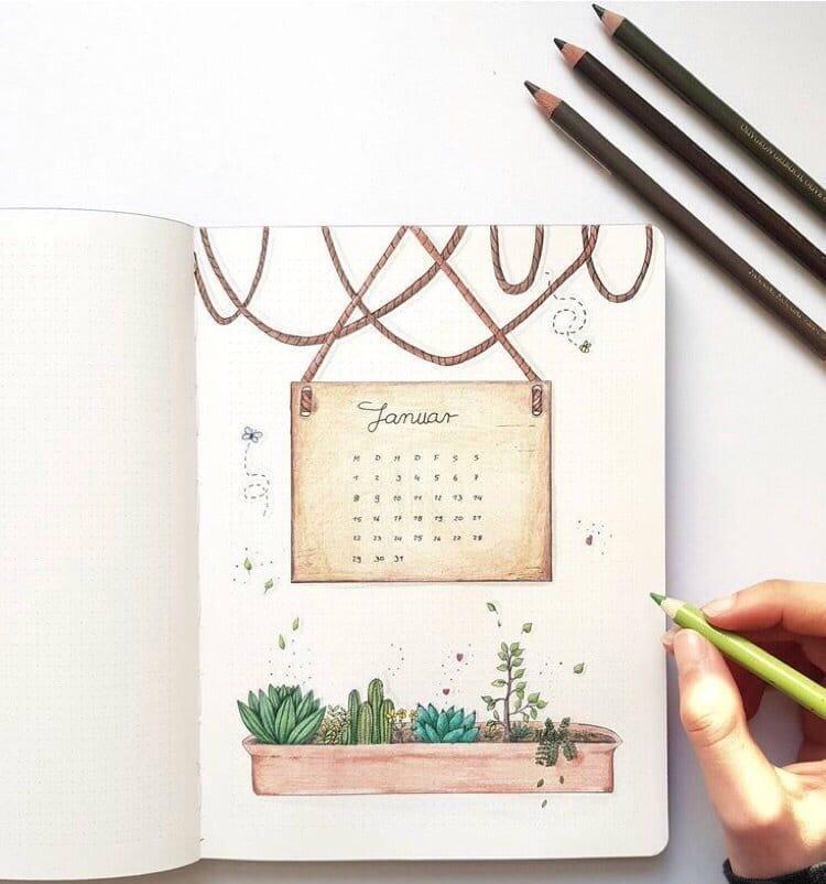 Succulents January Bullet Journal Ideas
