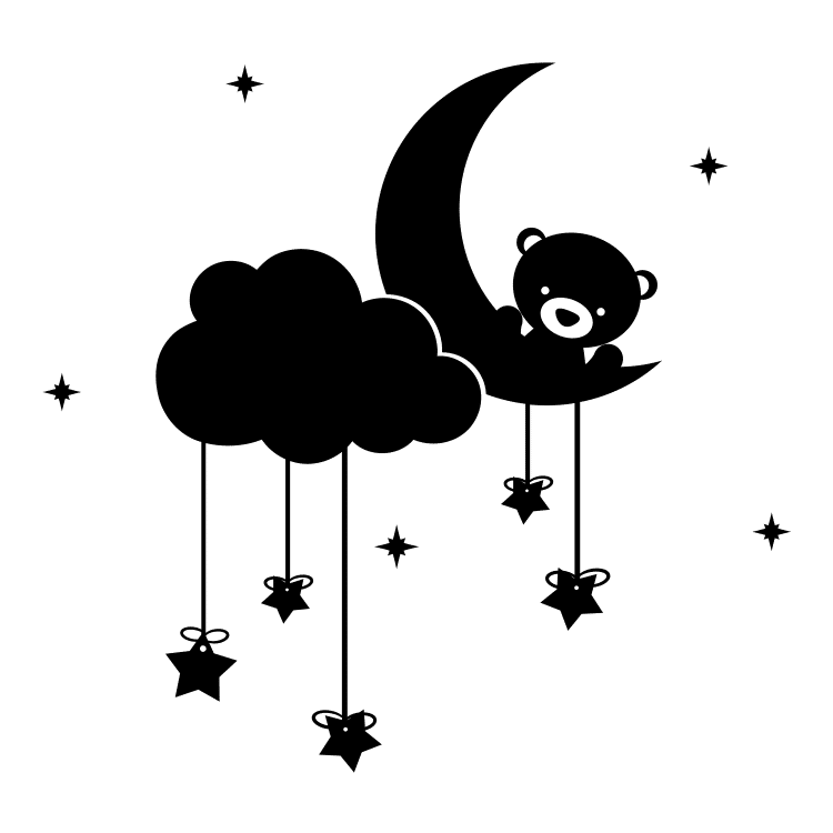 Teddy Bear Moon Stars and Clouds - Free SVG