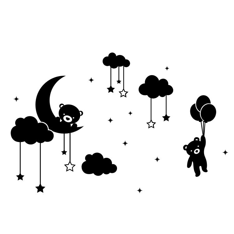 Teddy Bear in Stars and Clouds - Free SVG