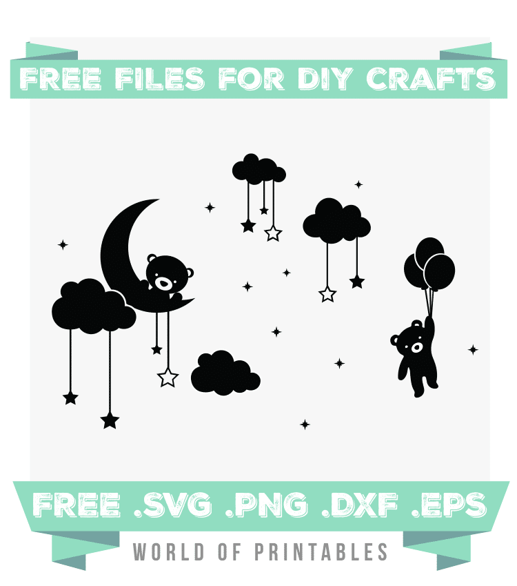 Teddy Bear in Stars and Clouds Free SVG Files PNG DXF EPS