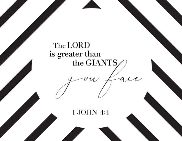 The Lord is greater than the giants you face - Free Printable Christian Wall Art